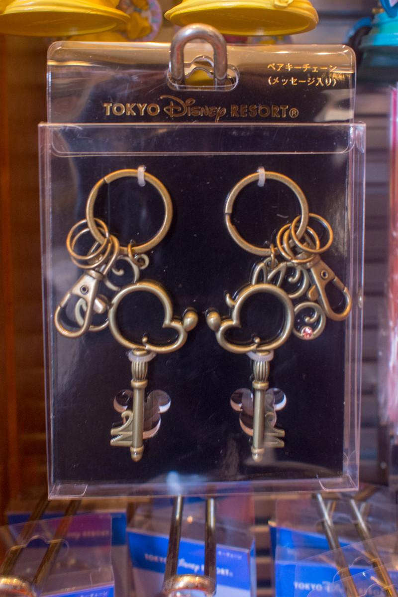 ミッキー&ミニー鍵型キーホルダー(メッセージ入り)