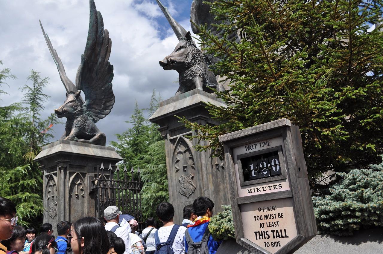 USJのホグワーツ城入り口とフォービドゥン・ジャーニーの待ち時間を表示する看板