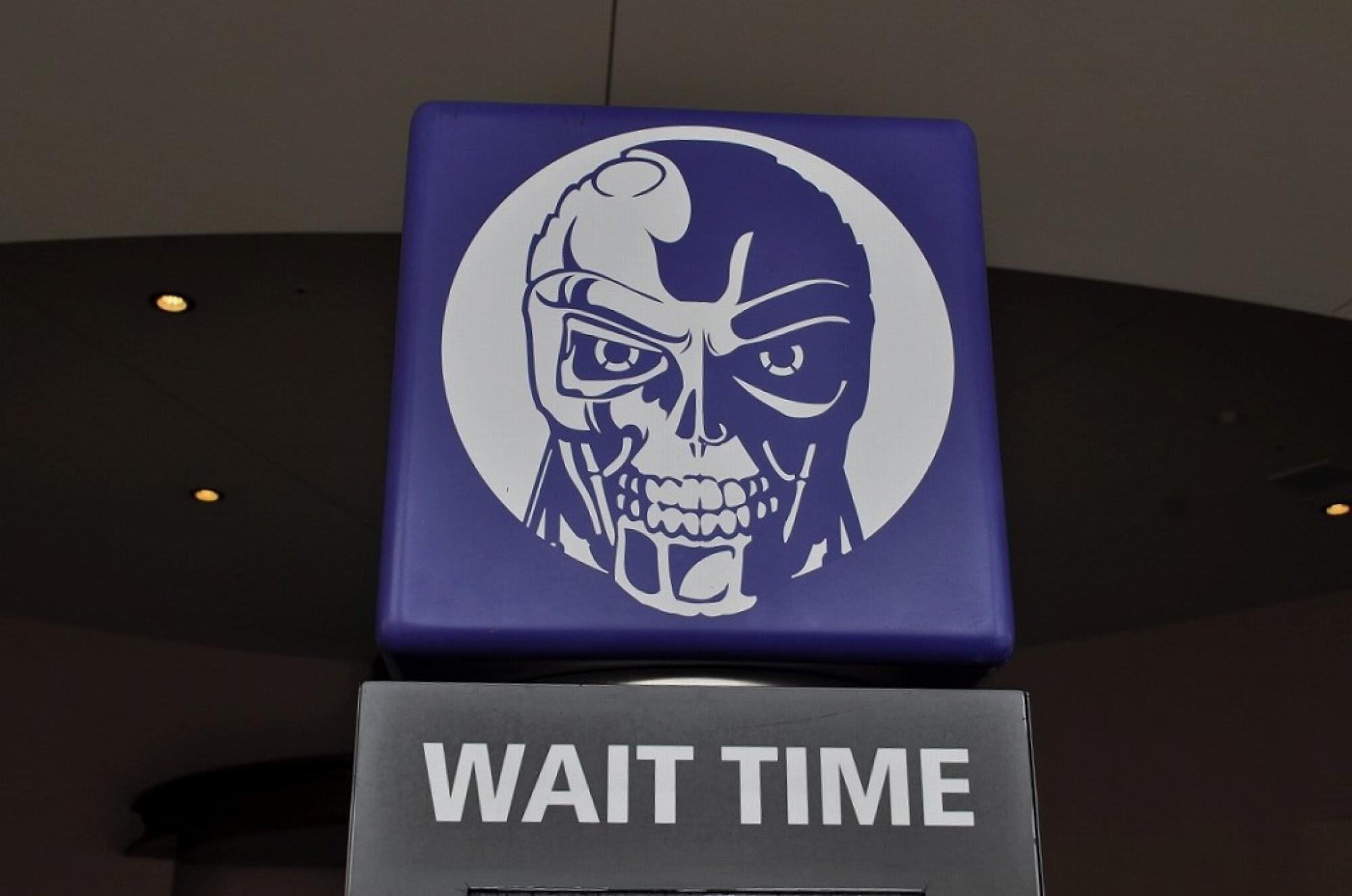 USJの「ターミネーター2:3D」入口の待ち時間表示