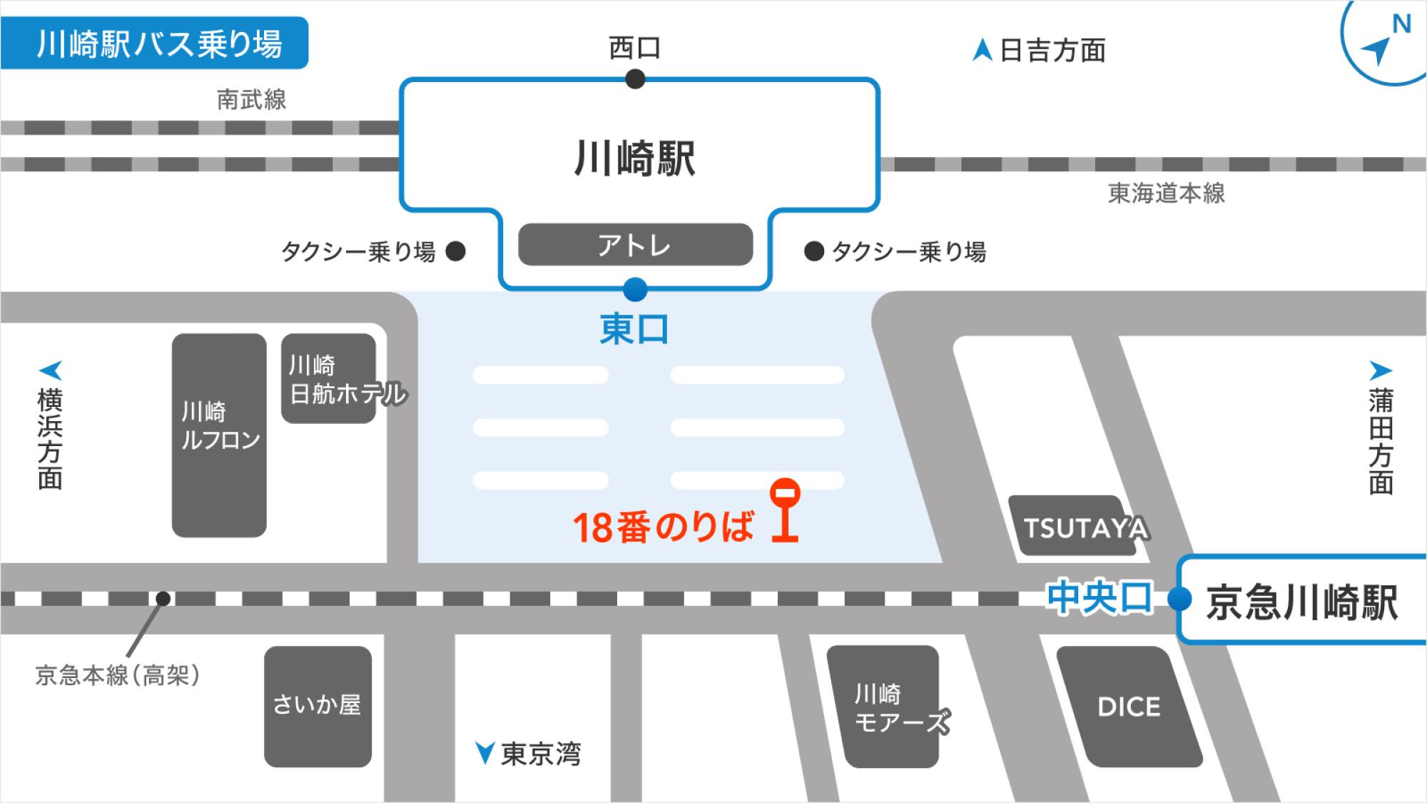 川崎駅のバス乗り場